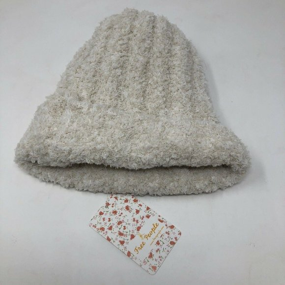 Free People Beanie Hat Ribbed Fluffy Soft Ivory